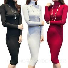 Stretchy Long Sleeve Casual Fitted High Neck Dress