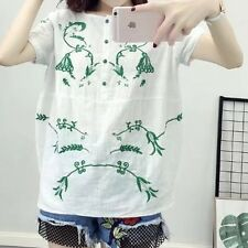 New Womens Summer Floral Embroidery Short Sleeve Pullover Shirt White Blouse Top