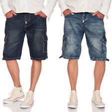 UNCS Cargo Jeans Shorts in medium blue and dark blue, M-5XL
