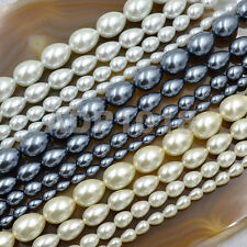 """Top Quality Czech Glass Pearl Pear Teardrop Loose Beads 15.5""""Pick Sizes & Colors"""