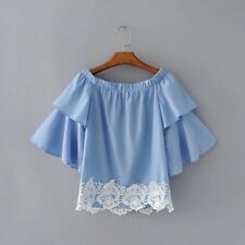 New Womens Ladies Flounced Sleeves Sexy Slash Neck Lace Mix Blouse Tops Shirt