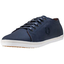 Fred Perry Kingston Womens Blue Canvas Casual Trainers Lace-up Genuine Shoes