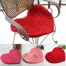Home Anti-Skid Fluffy Heart Shaped Area Rug Room Bedroom Carpet Floor Mat