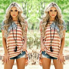 USA Women Plus Size American Flag Short Sleeve Casual Loose Tops Blouse T-Shirt