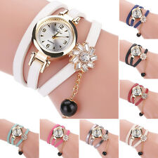 Sunflower Faux Leather Band Watch Beads Drop Quartz Bracelet Wrist Watch Little