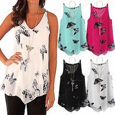 WOMEN CHIFFON TIERED LAYER BUTTERFLY VEST LADIES LINED CAMI TOP BLOUSE SIZE 8-18