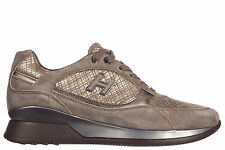 HOGAN WOMEN'S SHOES SUEDE TRAINERS SNEAKERS NEW ELECTIVE ALLACCIATO H FLOCK  069
