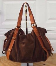 Lucky Brand Suede Leather Slouchy Hobo Tote Shoulder Handbag Bag Purse