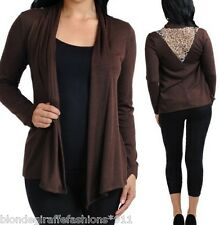 Brown Leopard Animal Print Lace Back Artsy Scarf Drape Cover-Up Cardigan Top