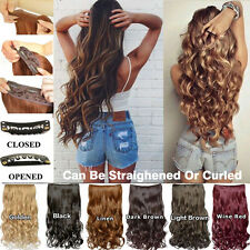 5 Clip in Hair Extensions Long Curly Human Hair Synthetic Wig Fake Hair Pieces
