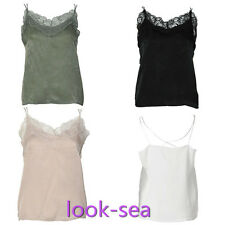 Womens Sexy Spaghetti Strap V Neck Floral Lace Summer Tops Tank Camis Blouse