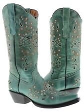 Womens Turquoise Python Rhinestone Western Leather Cowboy Boots Rodeo Cowgirl