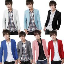 Korean Men's Stylish Slim Fit Casual Solid Color One Button Blazer Coat Fashion
