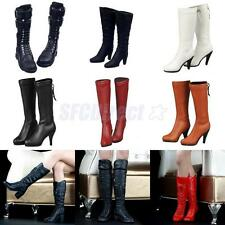 1/6 Scale Female Shoes Mid-calf Knee-high Boots High-heeled Boots for Phicen Toy