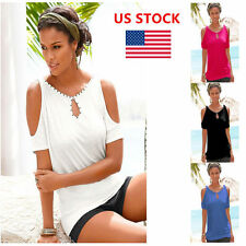 Summer Women Off Shoulder Solid Short Sleeve Casual Crop Tops Blouse Shirts Tees