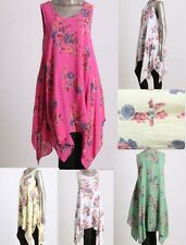 New Ladies Floral Italian Lagenlook Quirky Long Boho Pocket Tunic Dress