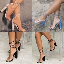 Women High Block Heel Ankle Strappy Transparent Peep Toe Lace Up Sandals Shoes