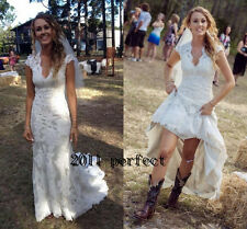 Country Wedding Dress V Neck Cap Floor Length Lace Cowgirls High Low Bridal Gown