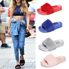 Women Grils Slip On Flats Outdoor Faux Fur Casual Comfy Slipper Sandals Shoes