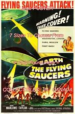 """EARTH VS. THE FLYING SAUCERS 1956 Sci-Fi WARNING = MOVIE POSTER 7 SIZES 19""""-36"""""""