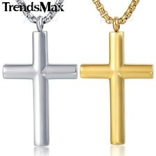 Boys Mens Chain Stainless Steel Gold Silver Tone Big Cross Pendant Necklace