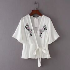 New Womens V Neck Embroidery Floral Short Sleeve Tie White Kimono Shirt Blouse