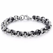 Round Box Link Bracelet Mens Chain Stainless Steel Cut Scales Black Silver 9mm