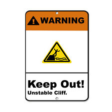 Warning Keep Out! Unstable Cliff. Security Sign Aluminum METAL Sign