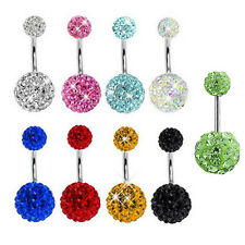 Navel Belly Ring Surgical Steel Crystal Rhinestone Ball Body Piercing Jewelry