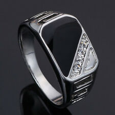 Men Concise Triangle Pattern Rhinestone Charm Wide Finger Band Ring Gift Fashion