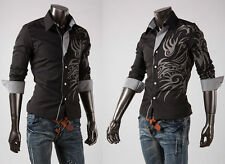 Men's Fashion Casual Slim Fit Stylish Long Sleeve Dress Shirts Dragon Design Hot