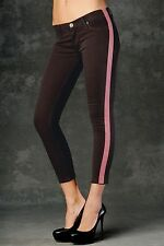NEW Hudson Lou Lou Women's Tuxedo Skinny Jeans Brown Pink 27  NWT