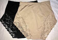 2 Seamless Lace High Waist Briefs BLACK NUDE Control Girdle Shaper Plus Panties