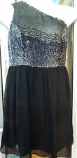 BNWT South size 12 one shoulder silver/black dress knee length party