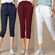 Fashion Women High Waist Trousers Pants Ladies Casual Cropped Length OL Trousers