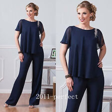 Navy Blue Chiffon Pants Suits Mother Of The Bride Dress Jewel Neck Wedding Guest