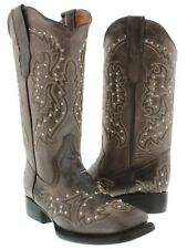 Womens Brown Silver Studded Stitched Leather Western Cowboy Boots Square Toe