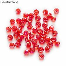 50 Piece Red AB Color Crystal Glass Faceted Beads Rondelle Jewelry Making 4-8mm