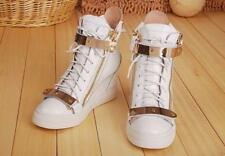Retro Women High Top Sneakers Lace Up Shoes Ankle Wedge Boots Athletic Plus Size