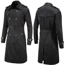 New Men Slim Double Breasted Long Trench Coat Trenchcoat Jacket Male Black Coat