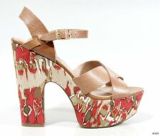 new STEVE MADDEN Kia brown leather open-toe colorful platforms heels shoes  SEXY
