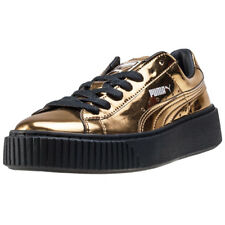 Puma Basket Platform Metallic Womens Gold Synthetic Casual Trainers Lace-up