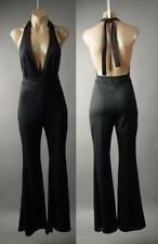 Halter Plunge Neck Open Back Flared Leg Evening Dress Pant 237 mv Jumpsuit S M L