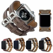 Genuine Leather Double Buckle Cuff Watch Band Replacement Strap for iWatch