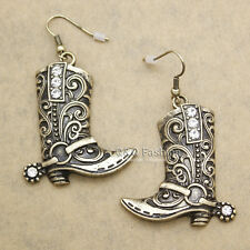 Western Wild West Cowgirl Texas Boots Spur Rodeo Earrings Fancy Dress Costume W2
