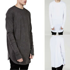 Men Plain Cotton Long Sleeve T-shirt Thumb Hole Cuff Casual Streetwear Long Tops