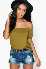 Boohoo Womens Alexis Off The Shoulder Ruche Sleeve Crop