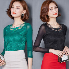 Women Slim High Collar Long Sleeve Blouses Stripe Lace Tops Shirts Charming