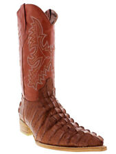 Mens Cognac Brown Alligator Crocodile Tail Leather Western Cowboy Boots Exotic