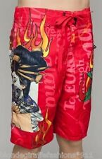 Men's Red Geisha/Flame/Rose Tattoo Swim/Skate/Surf Board Shorts/Trunks S